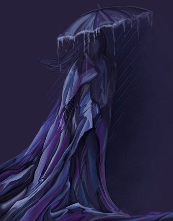 woman in long dress walking with umbrella, digital painting