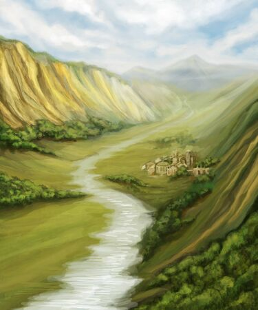 valley with river landscape and little town, digital painting photo