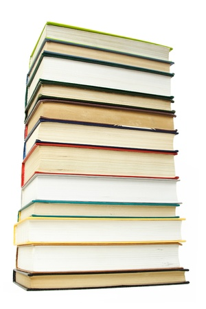 hard cover: big stack of books in hard cover, isolated