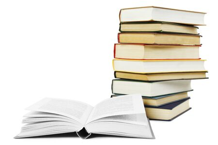 hard cover: stack of books in hard cover and one opened book in front, isolated