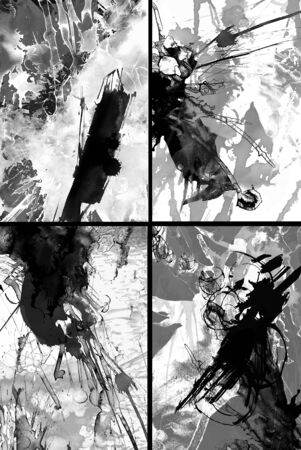dabs: four abstract black and white pictures with strokes and dabs