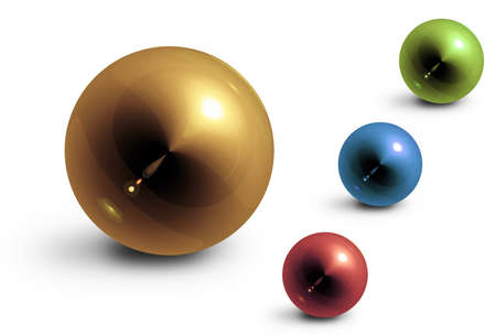 glossiness: four colored glossiness balls