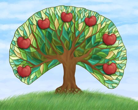 apple tree with fruits on hill Stock Photo - 9816983