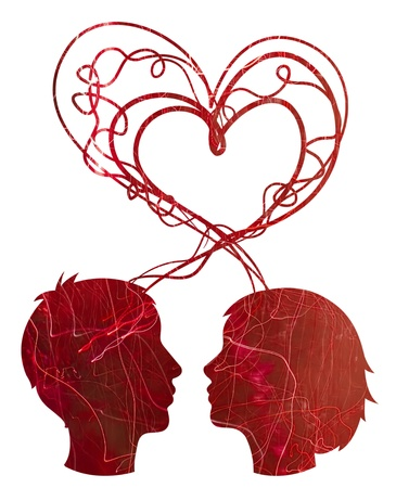 Abstract red silhouette of couple heads, love concept photo