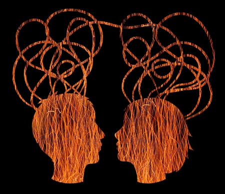 Abstract orange silhouette of couple heads, friendship concept photo