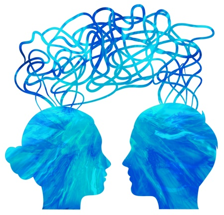 Abstract blue silhouette of couple heads thinking, relationship concept photo