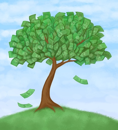 happiness concept: money tree on hill, blue sky