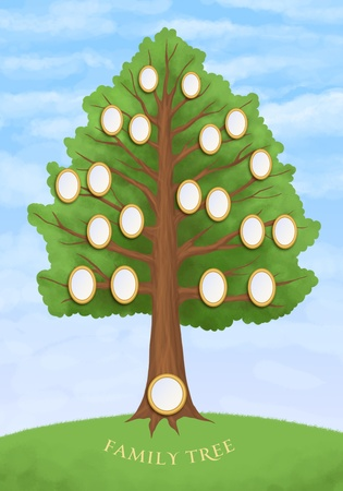 family tree with empty oval frames photo