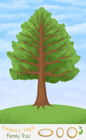 genealogical tree: family tree on green hill and blue sky, frame templates Stock Photo