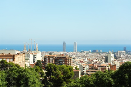 BARCELONA - AUGUST 20: view on Barcelona, Sagrada Familia cathedral, Torre Mapfre, hotel Arts and sea on August 20, 2010 in Barcelona, Spain. Stock Photo - 10005869