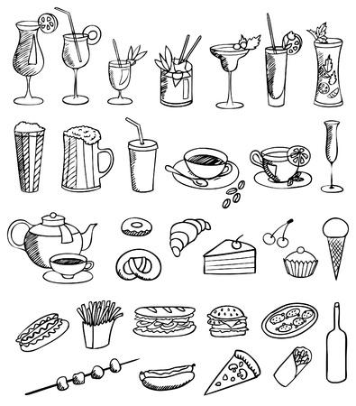 sketch: eten en drinken vector set Stock Illustratie