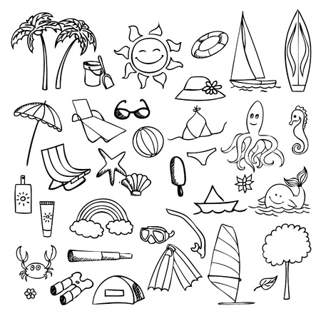 rainbow umbrella: vacation on sea vector set