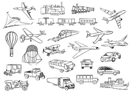 sketch: vervoer over de hele wereld vector set