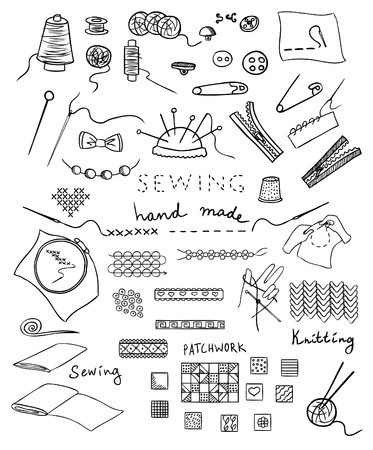 hand made: hecho a mano y un conjunto de vectores de costura
