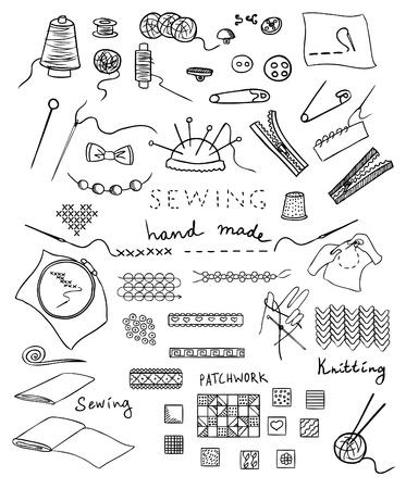 sew: met de hand gemaakt en handwerk vector set