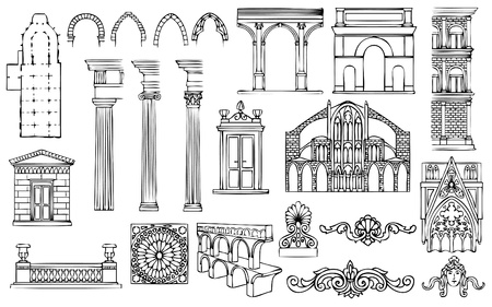 columns: architecture and ornaments vector set Illustration