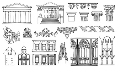 architectural elements: architecture and ornaments vector set Illustration