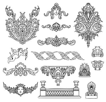 ornaments vector: antique and baroque ornaments vector set