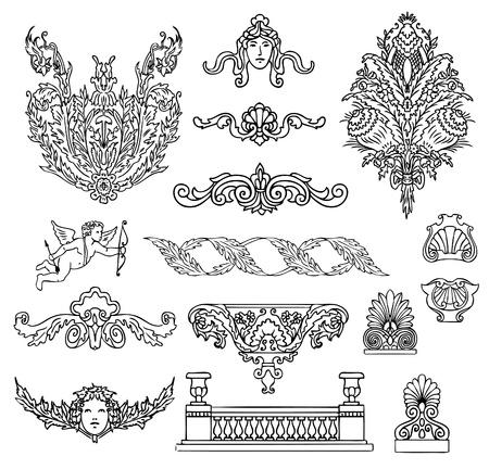 ornaments vector: ornamenti barocchi e antichi vettoriale insieme