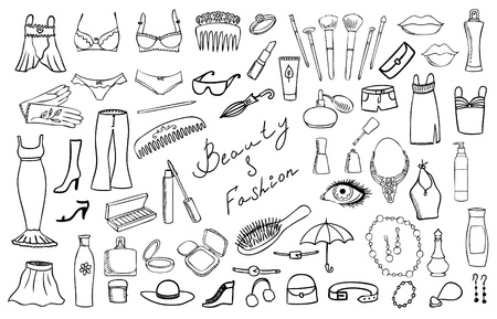 dress sketch: beauty and fashion items vector set