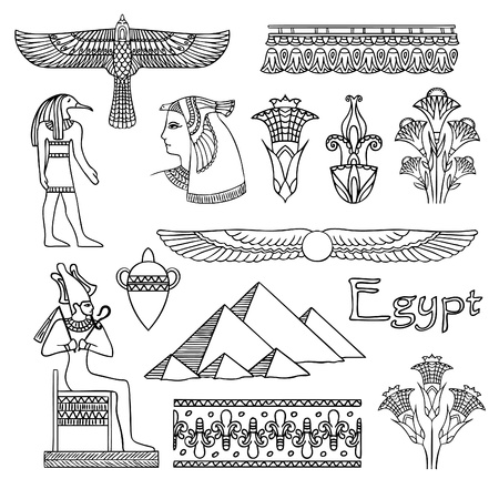 Egypt architecture and ornaments vector set Stock Vector - 9932566