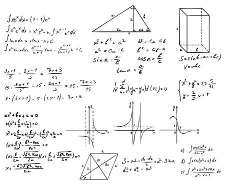 hand written: mathematics and geometry vector set