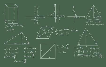integral: matem�ticas y geometr�a en pizarra verde vector set
