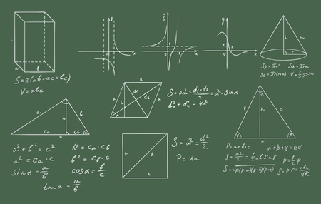 principle: mathematics and geometry on green blackboard vector set