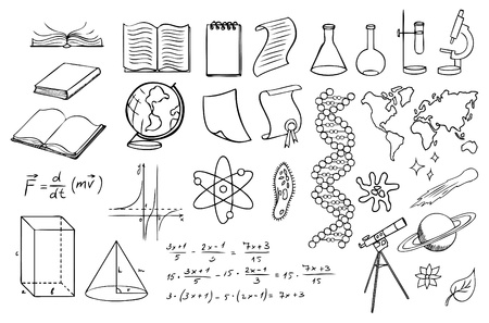 space science: science and education vector set