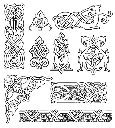 ornaments vector: antique old Russian ornaments vector set