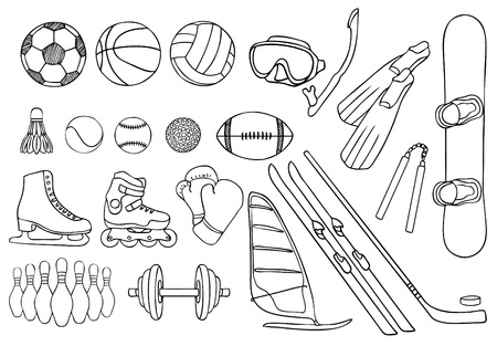 skates: different sport items vector set