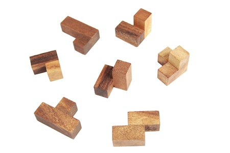 wooden tetris puzzle isolated Stock Photo - 9976816