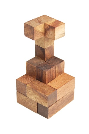 wooden puzzle tower isolated photo