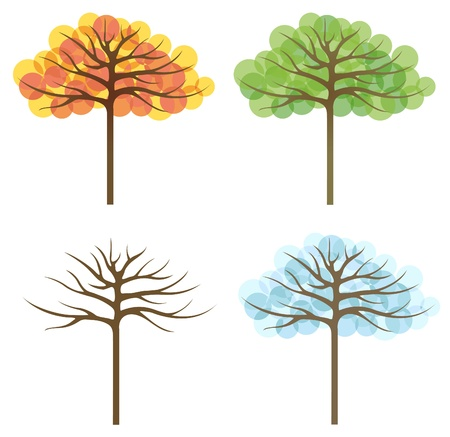 bare: four trees of different seasons, vector
