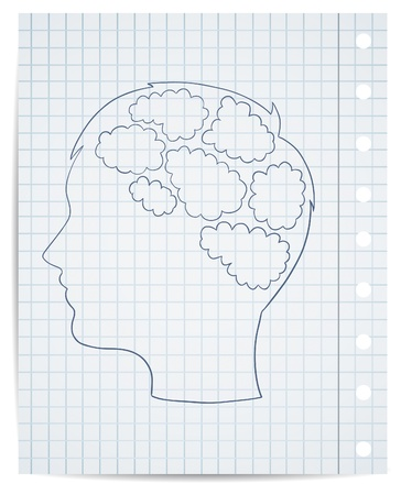 brain cells: boy head with thought template, vector Illustration