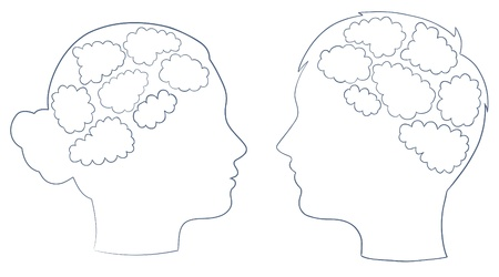 boy and girl head with thought template, vector Stock Vector - 10101202