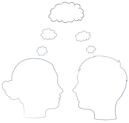 teen silhouette: boy and girl head with thought template, vector