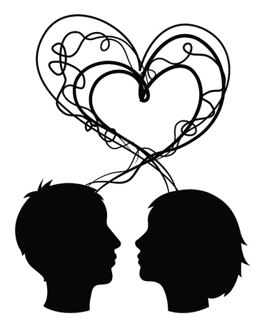 see side: abstract silhouette of couple heads, love concept, vector Illustration
