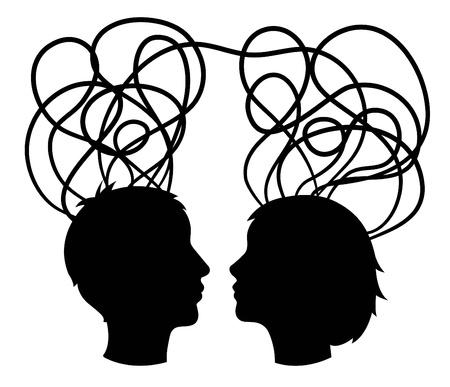 cerebro blanco y negro: resumen la silueta de los jefes de la pareja, creo que el concepto, vector Vectores
