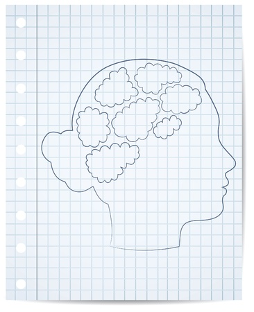 copybook: girl head with thought template, vector Illustration