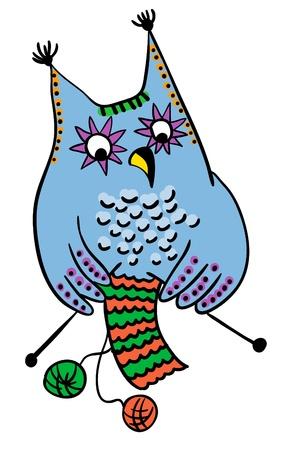 OWL tejer lana, concepto artesanal, vector Ilustración de vector
