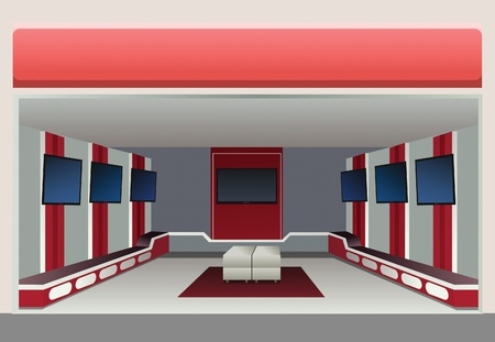 showroom with tv in shop, vector Stock Vector - 10101176