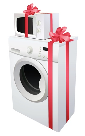 washing machine and microwave with red gift ribbon, vector Stock Vector - 10101212
