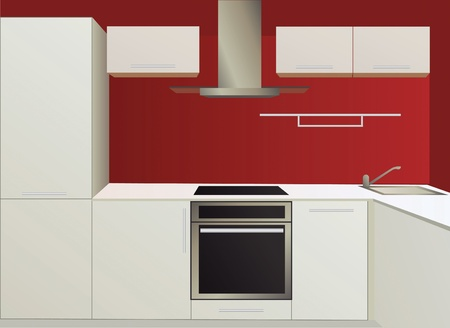 modern kitchen: white and red kitchen with household appliances, vector Illustration