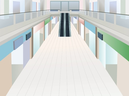 mall: shopping mall with two floors, vector
