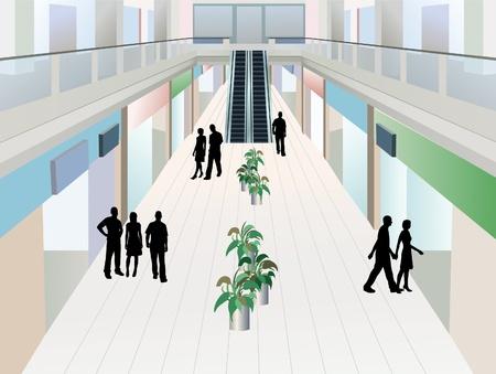 mensen in shopping mall met twee verdiepingen, vector Vector Illustratie