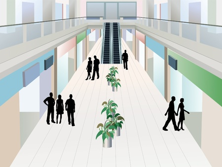shopping center: people in shopping mall with two floors, vector
