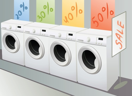 sellout of washing machine in shop, vector Stock Vector - 10101227