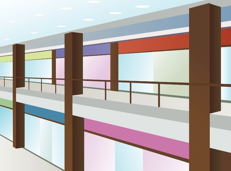hallway: mall with windows and brown columns, vector