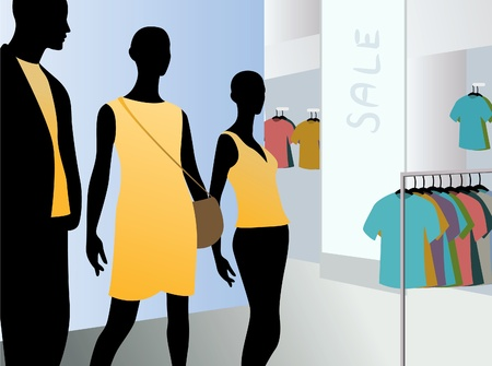 window in fashion dress market with black mannequins in yellow clothes, vector Vector